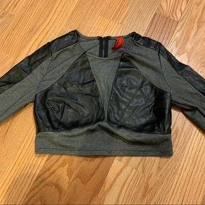 akira cropped leather shirt